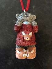 ME TO YOU BEAR XMAS TREE HANGING DECORATION - GLITTER REINDEER JUMPER & SLIPPERS