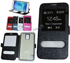Per Samsung Galaxy S5 Neo Custodia Nera Flip Eco Pelle Cover + Vetro Pellicola
