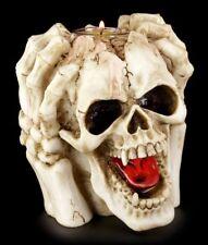 Totenkopf Teelichthalter - Furchtbar Kopfweh - Kerzenhalter Schädel lustig