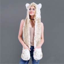 Faux Fur Animal Wolf Tiger Ears Hat Gloves Mittens Long Scarf Snood Hood Paws