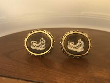 Vintage DANTE Museum Masterpiece Cameo Incolay Cufflinks Lovers Mythology Brown