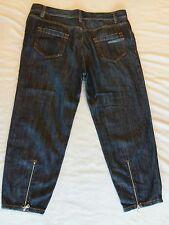 Prada dark distressed denim Cropped Jeans Size 29 loose fit skinny w/zip back