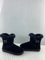 Style & Co Black Suede Faux Fur Lined Pull On Ankle Boots Women's Size 9 M