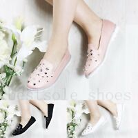 WOMENS LADIES SLIP ON FLATS StUDDED LOAFERS TRAINERS PLIMSOLLS PUMPS SHOES SIZE