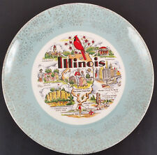 """Illinois State Plate 10"""" Gold Wonder City Crab Orchard Univ of IL Springfield"""