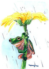 Aceo Limited Edition-Animal art print, Frog hold a flower,Gift for animal lovers