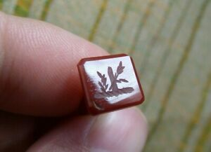 Antique 19th Century Banded Agate Nobility Armorial Floral Wax Stamp Seal