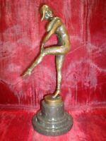 Statue Arlequin Style Art Deco Style Art Nouveau Bronze massif Signe