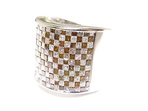 Mens 14k White Gold White & Red Princess Cut Colored Diamond Ring 5.00ct