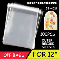 100X Clear Sleeves Outer Plastic Cover Antistatic For 12'' LP LD Vinyl Music