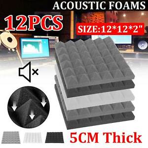 12/48 Acoustic Wall Panel Tiles Studio Sound Proofing Insulation Foam Black Pads