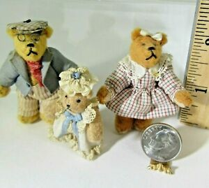 RARE vintage artist PAULETTE SVEC miniature dollhouse Teddy FAMILY 3 bears 1:12
