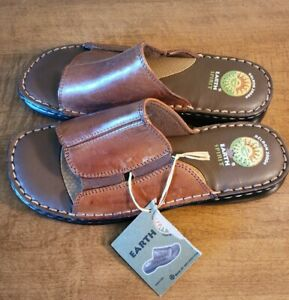 NEW Earth Spirit Gelron 2000 Brown Leather Slides Sandals Womens Size 8