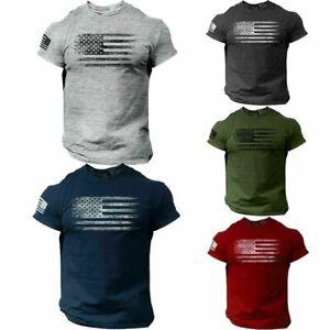 Men American Flag Shirt Patriotic T Shirt Army Military Veteran Style Shirt USA