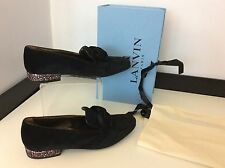 LANVIN Black velvet Bow Shoes Heels New RRP £500 Boxed Size 35 Uk 2 Slipper