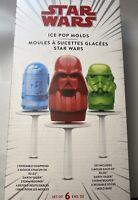 Star Wars Williams-Sonoma Ice Pop Molds Set of 6 Darth Vader, Stormtrooper, R2D2
