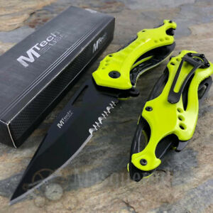 MTech Half Serrated Tactical Rescue Spring Assisted Pocket Knife [Neon Yellow]