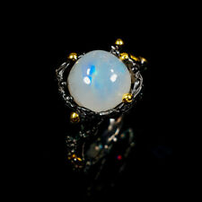 Handmade Natural Moonstone 925 Sterling Silver Ring Size 8/R122636