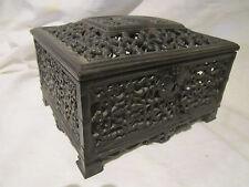 New listing Vintage Russian Cast Iron Box openwork filigree jewellery case
