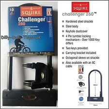 SQUIRE Challenger 260 Steel Supreme Quality Bike Cycle D Lock Security 2 Key New