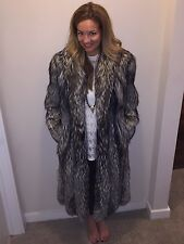 Silver Fox Fur Full-length Coat by Revillon, US size 6-8