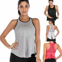 Women's Mesh Shirts Activewear Yoga Workout Open Back Sports Tank Tops Vest US