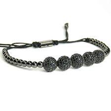 Men And Women Beads Bracelet 5 Balls Inlaid Black Crystal 24k Black Gold Plated