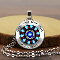 Iron Man, Tony Stark Tibet Glass Dome Necklace Chain Pendant Endgame Avengers