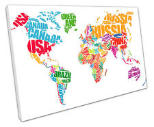 TYPOGRAPHY WORLD MAP CANVAS WALL ART PICTURE LARGE 75 X 50 CM