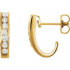 Channel Set Diamond J-Hoop Earrings In 14K Yellow Gold (3/8 ct. tw.)