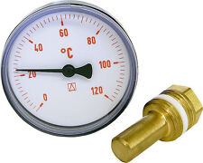 """Bimetall Thermometer 63 mm, DN 15 (1/2"""") 0 - 120°C Rot"""