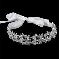 Crystal Tiara Headband Princess Hair Wedding Rhinestone Pearl Crown Bride Bridal