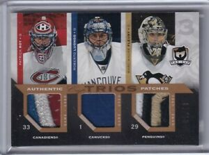 2007-08 The Cup Jerseys Trios Patches Patrick Roy/Roberto Luongo/M-A Fleury /10