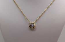 "1CT ROUND SOLITAIRE PENDANT NECKLACE BEZEL SET 18"" CHAIN SOLID 14K YELLOW GOLD"
