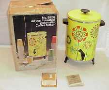 1972  VINTAGE FLOWER POWER WESTBEND 30 CUP COFFEE MAKER WITH ORIGINAL BOX