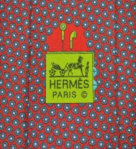 RARE HERMES PARIS 645794 HA Tie MADE IN FRANCE 100% Silk Red Color L61 W3.1