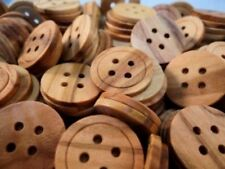 15 FLAT REAL OLIVE NATURAL WOODEN 4 HOLE BUTTONS 18mm-W1640  MADE IN ITALY