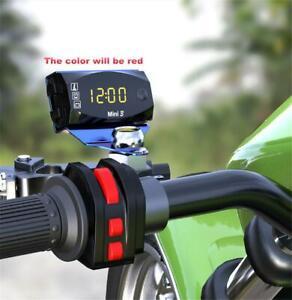 3 IN 1 Motorcycle Voltmeter Voltage Meter & Air Temperature  & Time Clock LED
