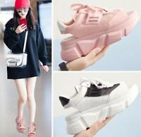 New Womens Pink Open Toe Fashion Sneakers Summer Lace up Shoes Platform Athletic
