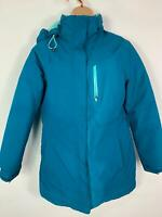 WOMENS LANDS END PETROL BLUE CASUAL PADDED WINTER RAIN COAT HOOD JACKET SIZE M