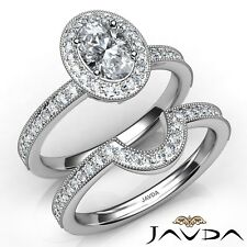 2ctw Milgrain Halo Pave Bridal Oval Diamond Engagement Ring Gia F-Vs2 White Gold