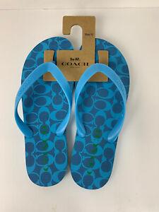 Coach Women's Flip Flop Sandals Size 10 Blue C Logo Rubber