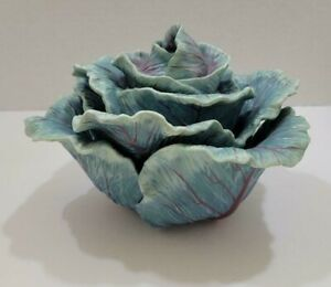 Fitz and Floyd Classic Ceramic Cabbage Centerpiece/Dip Bowl with Lid