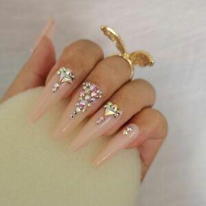 Nail False Long Coffin Design 24Pcs Fake Crystal Diamond Manicure Full Cover Tip