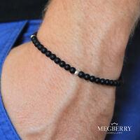 MEGBERRY® Mens Gemstone Bead Bracelet - Matt Black Onyx, 925 Sterling Silver