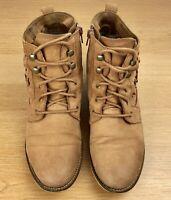 Aldo Tan Suede Leather Ankle Boots Size 8 Wirasien Brown Cognac Block Heel