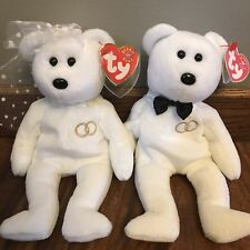 TY Beanie Babies Bears Mr. & Mrs. Wedding Decorations 2001 White Gold Rings Tags