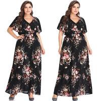 Womens V Neck High Waist Floral Maxi Tea Dress Casual Holiday Sundress Plus Size