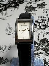 KENNETH COLE Women's Rectangle Watch BLACK LEATHER STRAP Silver Tone Elegant WR