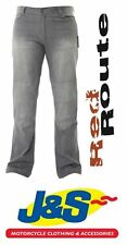 RED ROUTE STRETCH JEANS GREY MENS DENIM ARAMID MOTORCYCLE TROUSERS CASUAL J&S